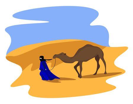 Camel on sand, illustration, vector on white background. 일러스트