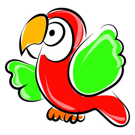 Parrot drawing, illustration, vector on white background.