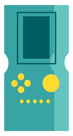 A blue colored video game with a yellow buttons, vector, color drawing or illustration.