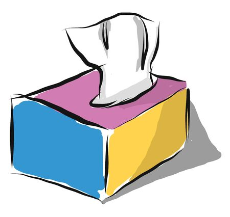 A colorful box of tissues, vector, color drawing or illustration.