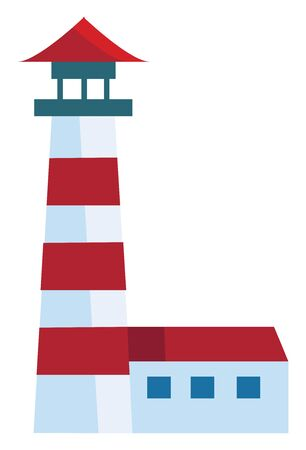 A red lighthouse at night with a bright spotlight, vector, color drawing or illustration.