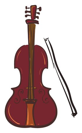 A big brown cello instrument, vector, color drawing or illustration.