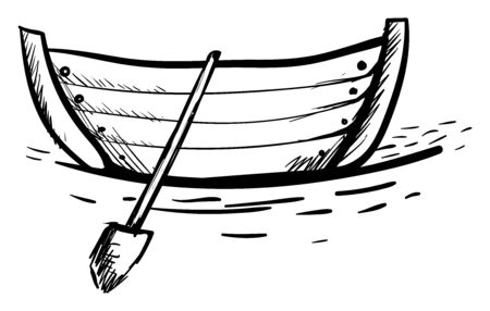 Boat drawing, illustration, vector on white background. Banque d'images - 132799152