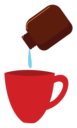 Sipping medicine, illustration, vector on white background.