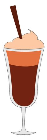 Ice coffee, illustration, vector on white background.