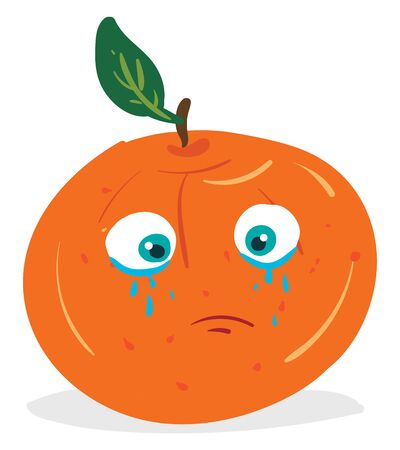 A cartoon of a crying orange with pouring tears, vector, color drawing or illustration.