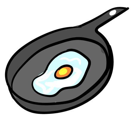 Egg in a pan, illustration, vector on white background. 版權商用圖片 - 132799320