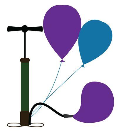 Pumping balloons, illustration, vector on white background. Illustration