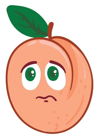Cute apricot is unhappy, illustration, vector on white background.