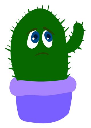 Sad cactus in purple pot, illustration, vector on white background. Иллюстрация