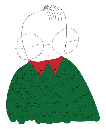 A man in a green sweater with big glasses, vector, color drawing or illustration.