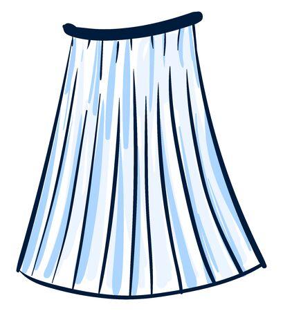 Blue skirt drawing, illustration, vector on white background. Illustration