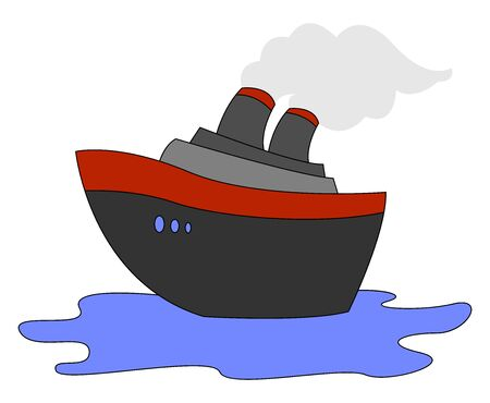 Steamship on sea, illustration, vector on white background.