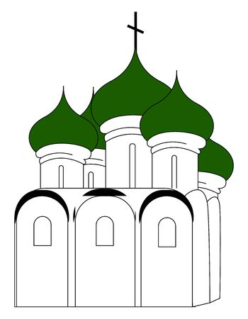 Russian church with green roof, illustration, vector on white background.