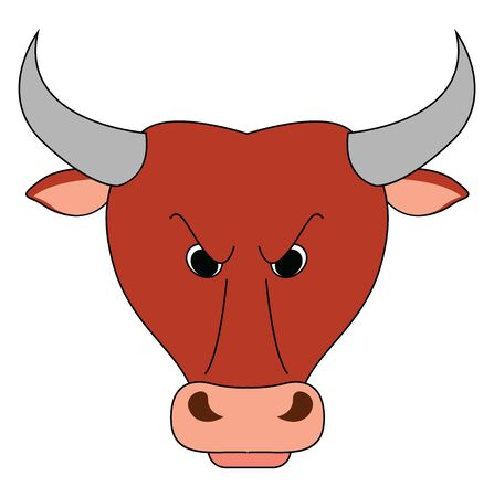 Angry bull, illustration, vector on white background.