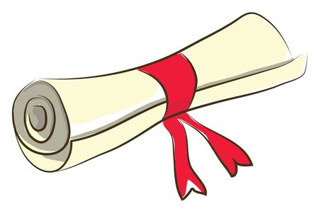 Une lettre roulée avec un ruban, un vecteur, un dessin en couleur ou une illustration.