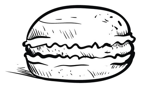 Drawing of macaron, illustration, vector on white background. 矢量图像
