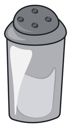 Salt in a black plastic container, vector, color drawing or illustration.