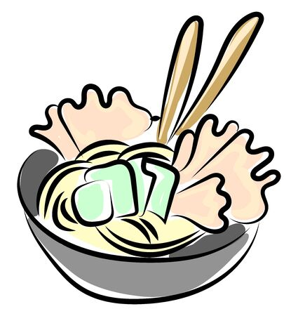 Paste food, illustration, vector on white background. Иллюстрация