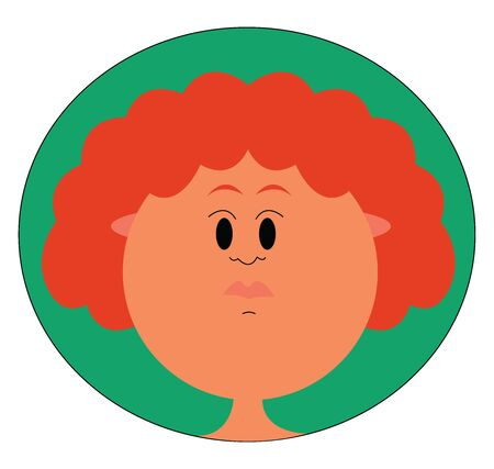 Cute ginger girl, illustration, vector on white background.