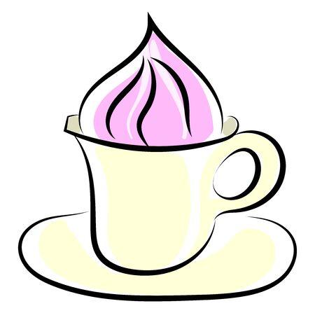 Coffee with cream, illustration, vector on white background. Standard-Bild - 132799567