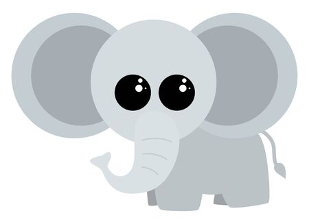 Cute baby elephant, illustration, vector on white background.