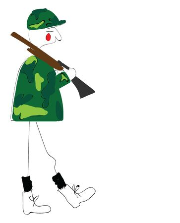 A soldier on duty with his gun, vector, color drawing or illustration.