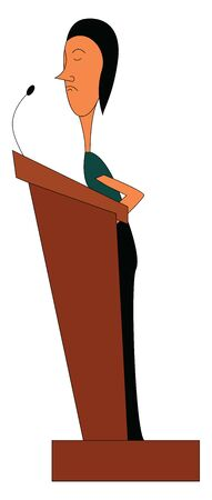 A girl standing in a pulpit to address the gatherings, vector, color drawing or illustration.