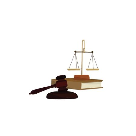 Gavel and scales on a book, illustration, vector on white background.