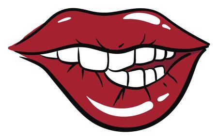 Bitting lips, illustration, vector on white background.
