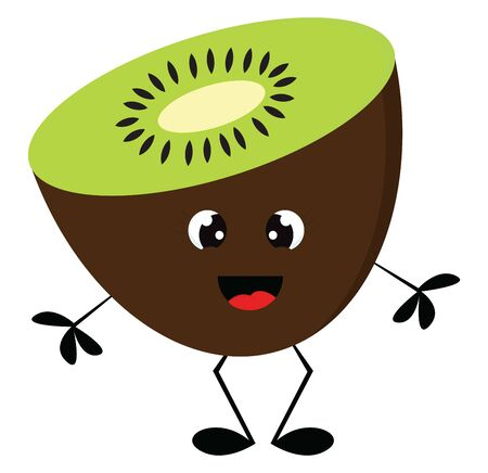 A cartoon of a kiwi fruit with a sparkling eyes, vector, color drawing or illustration. 矢量图像