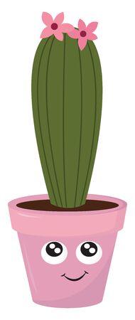 Pink cactus pot, illustration, vector on white background. Иллюстрация