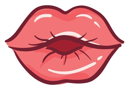 Red lips kissing, illustration, vector on white background. Illustration