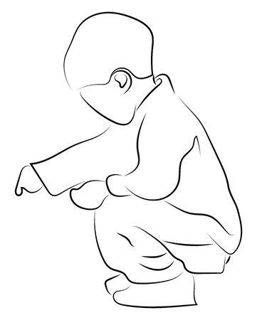 Child crouching, illustration, vector on white background.