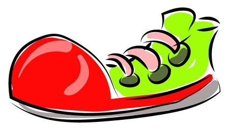 Big clown shoe, illustration, vector on white background.