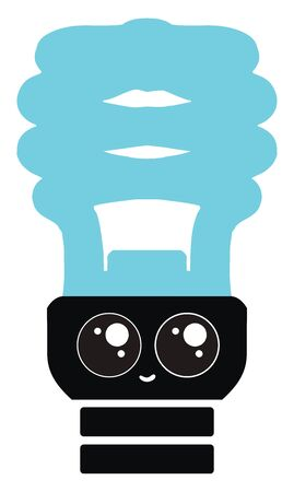 Blue bulb with eyes, illustration, vector on white background.