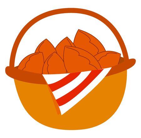 Basket full of cakes, illustration, vector on white background.