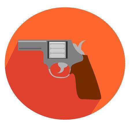 Revólver en círculo naranja, ilustración, vector sobre fondo blanco.