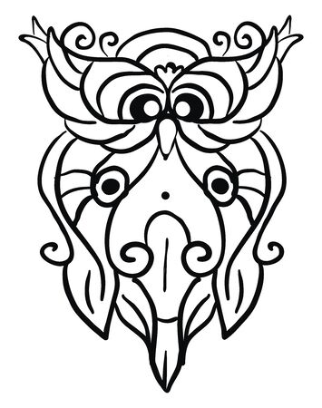Decorative owl sketch, illustration, vector on white background.