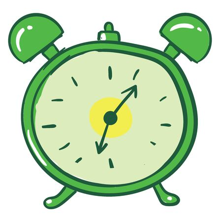 Green alarm clock, illustration, vector on white background.