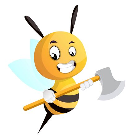 Bee holding an axe, illustration, vector on white background.