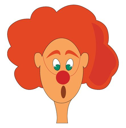 A clown with green eyes and orange hair, vector, color drawing or illustration.