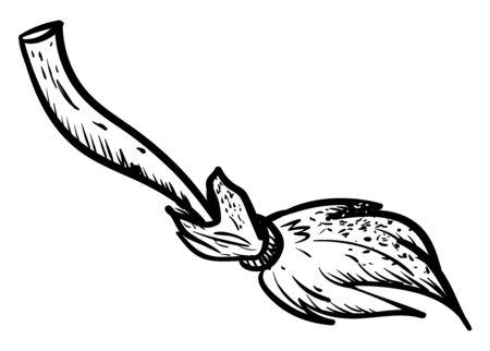 Wooden broom sketch, illustration, vector on white background.