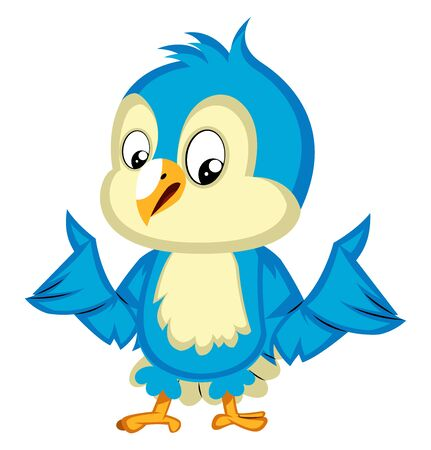 Blue bird is confused, illustration, vector on white background.