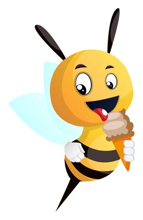 Bee licking ice cream, illustration, vector on white background.