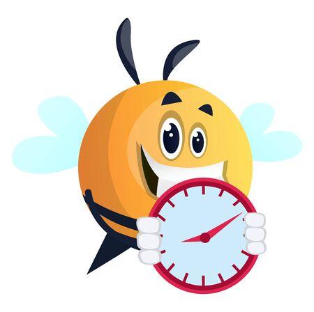 Bee holding watch, illustration, vector on white background. Illusztráció