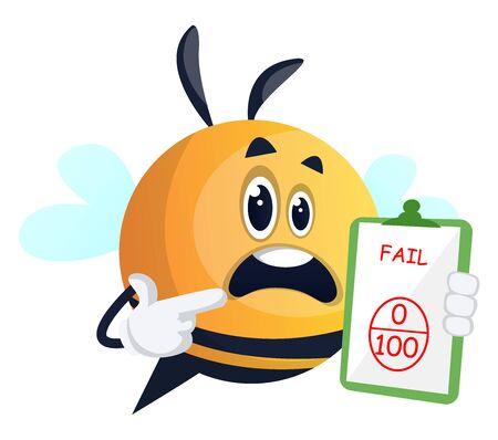 Bee failed the exam, illustration, vector on white background. Illusztráció