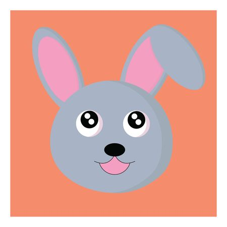 Face of a small rabbit with a orange background, vector, color drawing or illustration. 向量圖像
