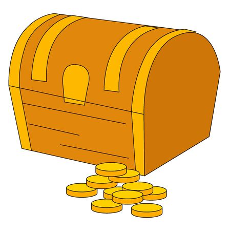 Treasure chest with coins, illustration, vector on white background. Illustration