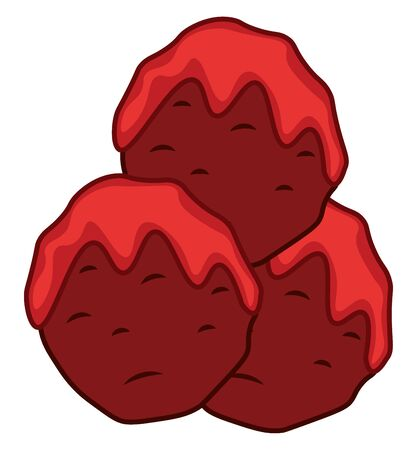 A red meatballs with a color red sauce, vector, color drawing or illustration.